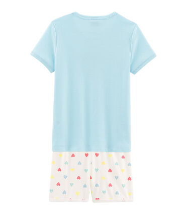 Pyjacourt petite fille en côte bleu Glacis / blanc Multico
