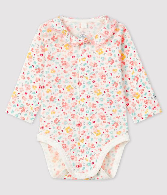 Body fleuri à col bébé fille en côte blanc Marshmallow / blanc Multico