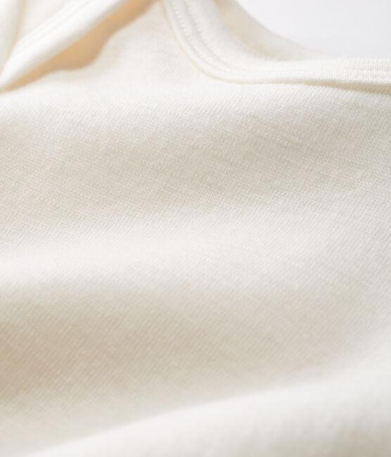 Body blanc jambes longues bébé en laine et coton beige Ecru