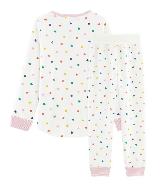 Pyjama petite fille taille montante en jersey double face blanc Marshmallow / blanc Multico