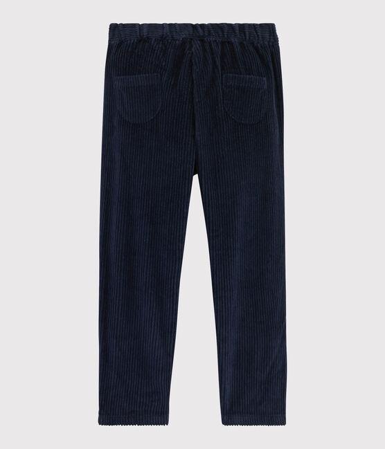 Pantalon en velours enfant fille bleu Smoking