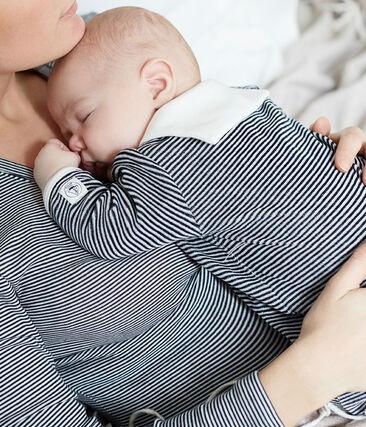 Dors bien bébé garçon en velours bleu Smoking / blanc Marshmallow