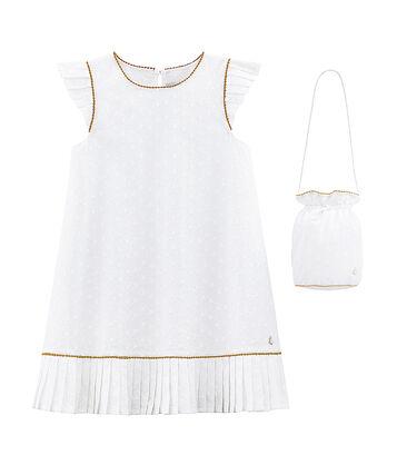 Robe et son sac de cérémonie enfant fille blanc Ecume