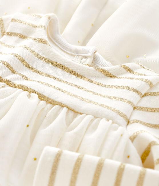 Robe manches longues bi-matière bébé fille beige Coquille / jaune Lurex Dore