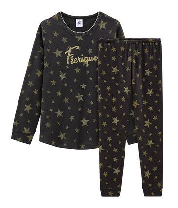 Pyjama petite fille en côte gris Capecod / jaune Or