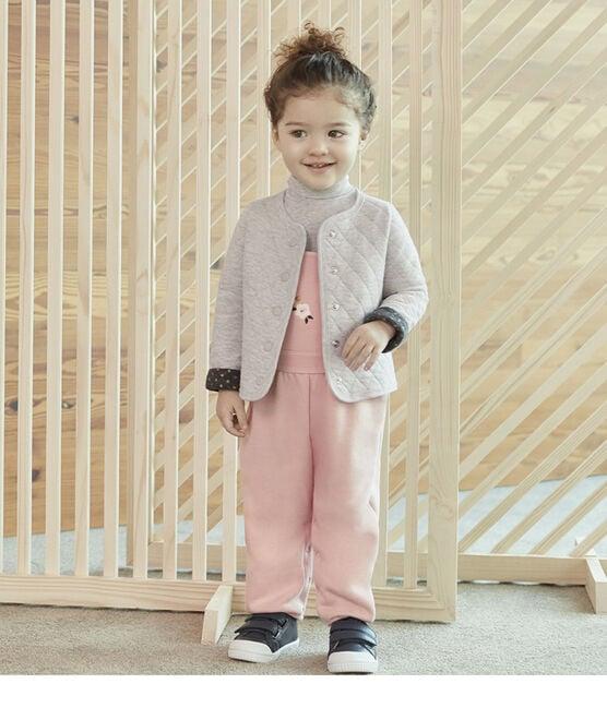 Cardigan bébé fille en tubique matelassé gris Beluga