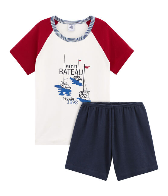 Pyjacourt petit garçon en côte bleu Smoking / blanc Multico