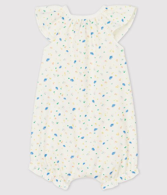 Combicourt à petites fleurs bébé en coton et lin blanc Marshmallow / blanc Multico