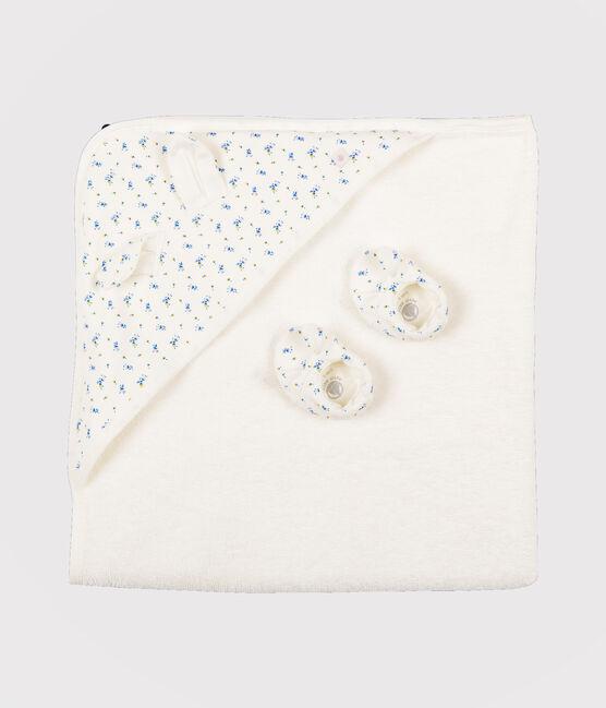 Coffret carré de bain et chaussons bébé en éponge et côte blanc Marshmallow / blanc Multico