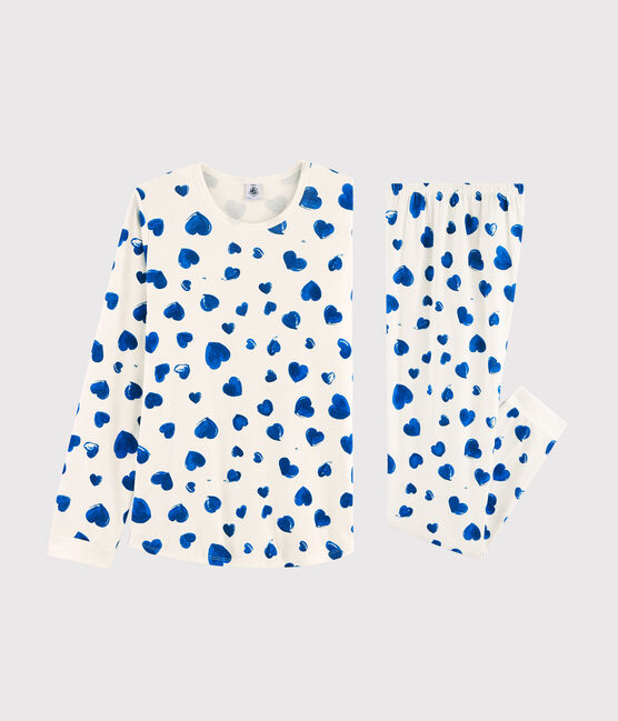 Pyjama fille / femme imprimé cœurs en côte blanc Marshmallow / bleu Bleu