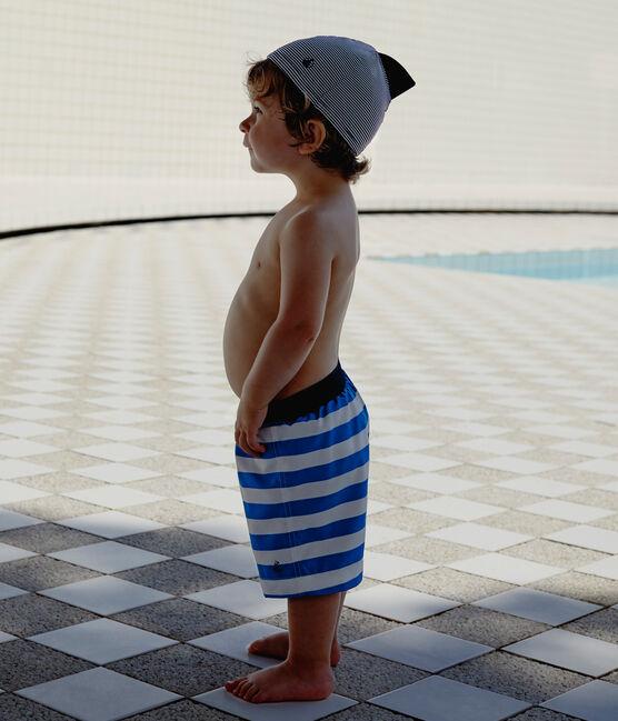 Short de plage rayé bébé garçon bleu Riyadh / blanc Marshmallow