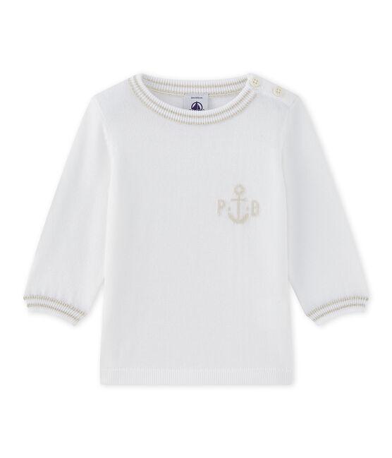 Pull bébé garçon en tricot blanc Marshmallow