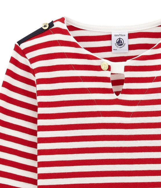 Marinière revisitée enfant fille rouge Terkuit / blanc Marshmallow