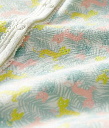 Dors bien sans pieds bébé en côte blanc Marshmallow / blanc Multico