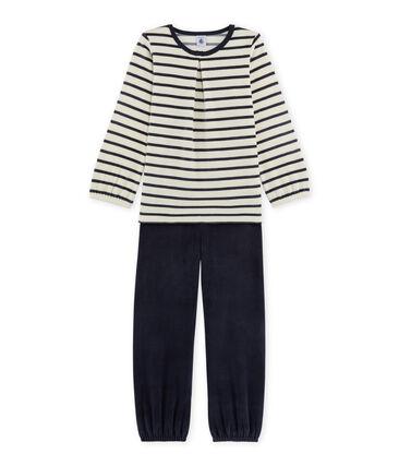 Pyjama fille en bouclette velours beige Coquille / bleu Smoking