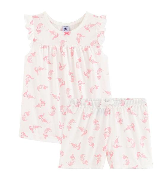 Pyjacourt petite fille en coton fin blanc Marshmallow / rose Rose