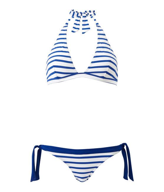 Maillot de bain 2 pièces femme rayé blanc Marshmallow / bleu Perse