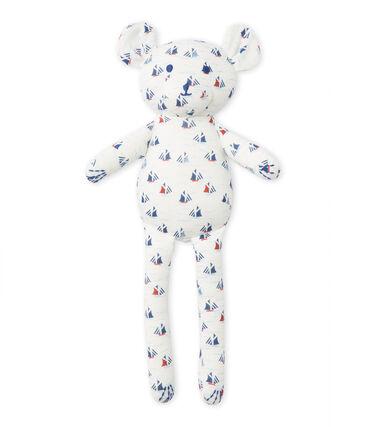 Doudou ourson bébé garçon imprimé blanc Lait / blanc Multico