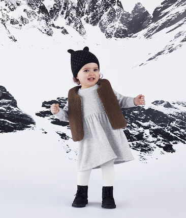 Bonnet doublé polaire bébé mixte bleu Smoking / blanc Marshmallow