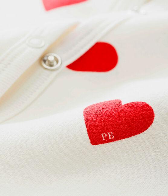 Dors Bien cœur bébé fille en molleton blanc Marshmallow / rouge Terkuit