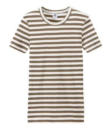 T-shirt femme en côte originale rayée marron Shitake / blanc Marshmallow