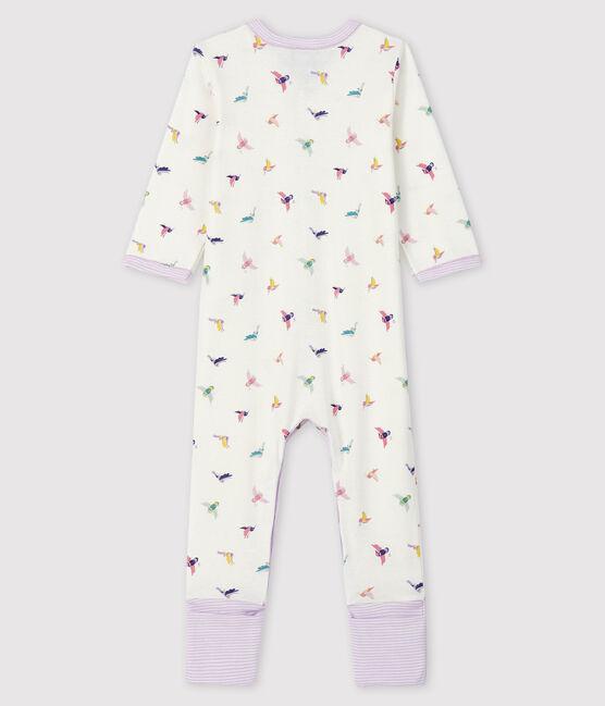 Dors-bien à pieds amovibles bébé fille en côte blanc Marshmallow / blanc Multico