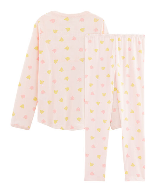 Pyjama petite fille en côte rose Fleur / blanc Multico