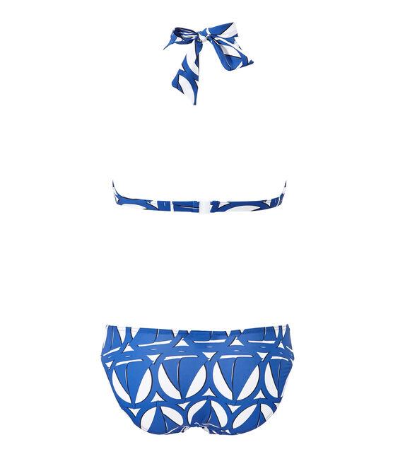 Maillot de bain 2 pièces femme imprimé blanc Marshmallow / bleu Perse