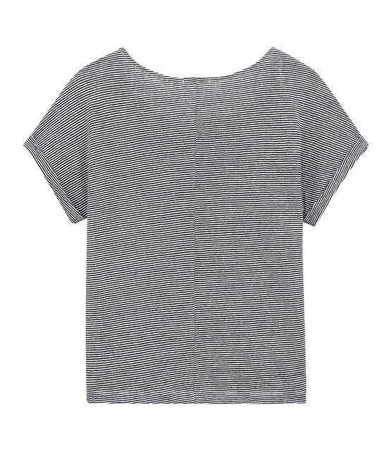 T-shirt fluide femme en lin rayé milleraies bleu Smoking / blanc Lait