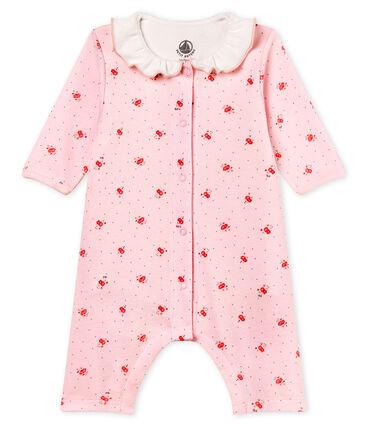 Bodyjama sans pieds bébé fille en côte 1x1 imprimée rose Vienne / blanc Multico