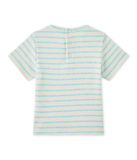 T-shirt bébé garçon manches courtes rayé blanc Feta / vert Adventure