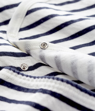Pyjama bébé mixte en tubique blanc Marshmallow / bleu Smoking