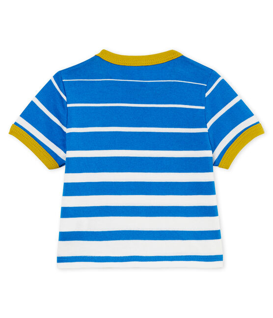 Tee-shirt manches courtes bébé garçon rayé bleu Riyadh / blanc Marshmallow