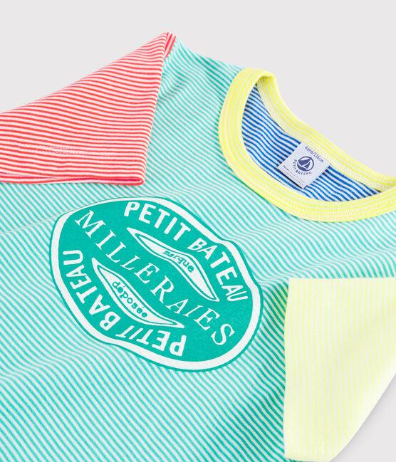 Pyjama à rayures multicolores petit garçon en côte vert Esperanza / blanc Multico