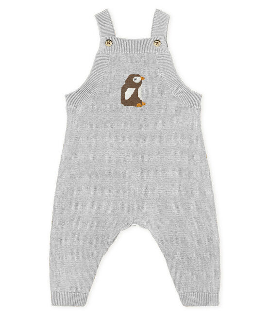 Salopette longue bébé garçon en tricot laine, nylon et alpaga. gris Montelimar Chine