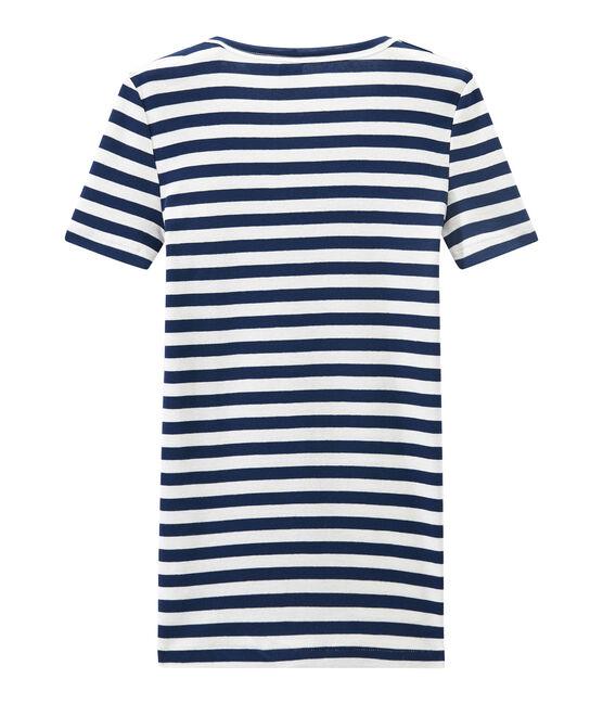 T-shirt femme col V en côte originale rayée bleu Medieval / blanc Marshmallow
