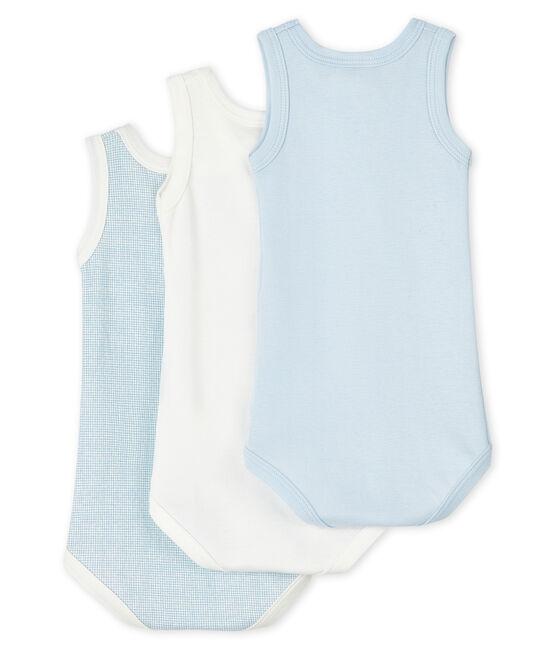 Lot de 3 bodies bleus et blanc sans manches bébé garçon lot .