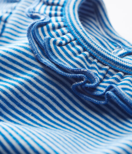 Blouse manches courtes bébé fille rayée bleu Riyadh / blanc Marshmallow