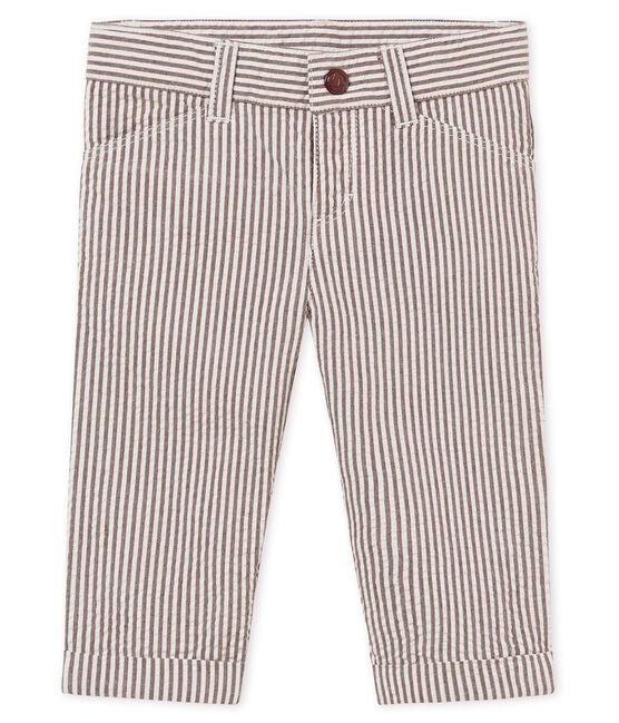 Pantalon bébé garçon rayé rouge Vino / blanc Marshmallow