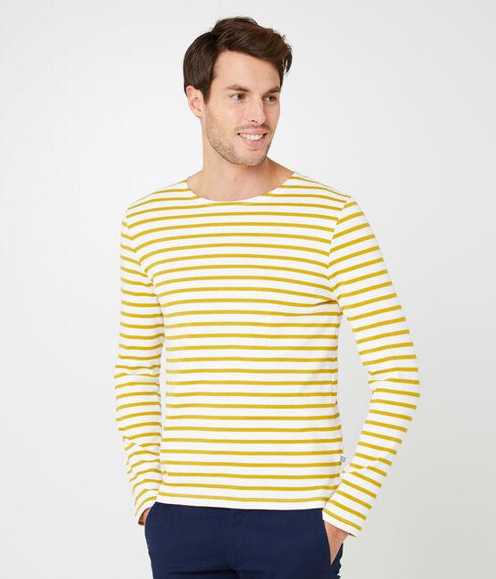 Marinière iconique homme blanc Marshmallow / jaune Bamboo