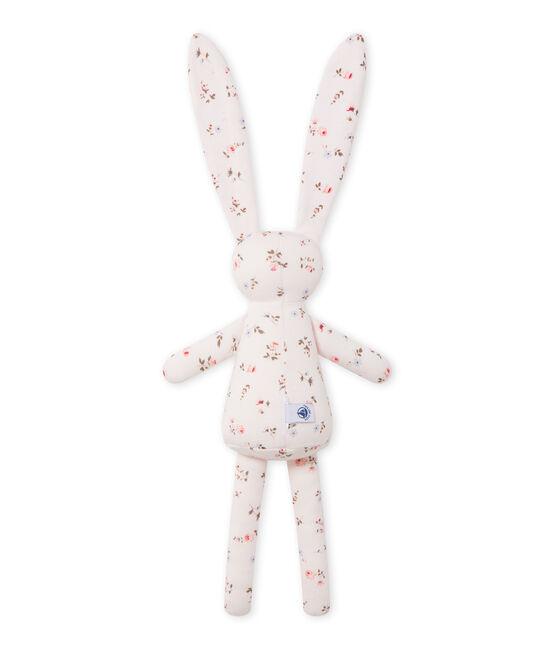 Doudou lapin bébé mixte imprimé rose Vienne / blanc Multico