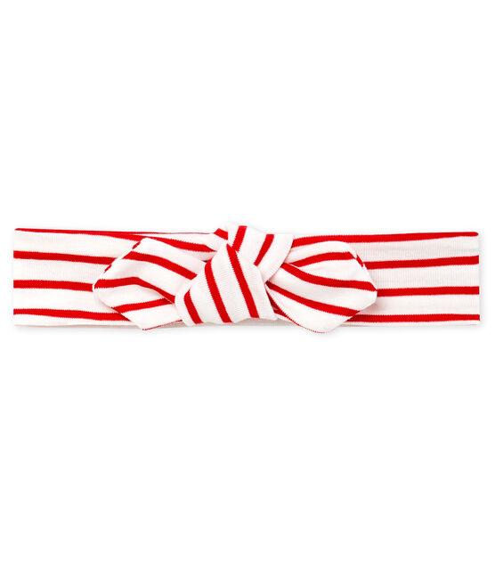 Bandeau bébé fille rayé blanc Marshmallow / rouge Terkuit