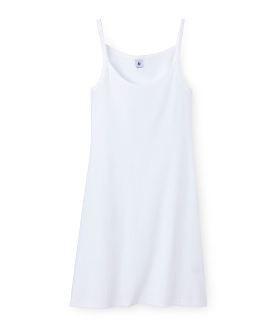 Robe à bretelles femme blanc Ecume