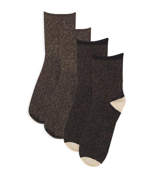 Lot chaussettes mi-hautes femme noir Noir / jaune Or