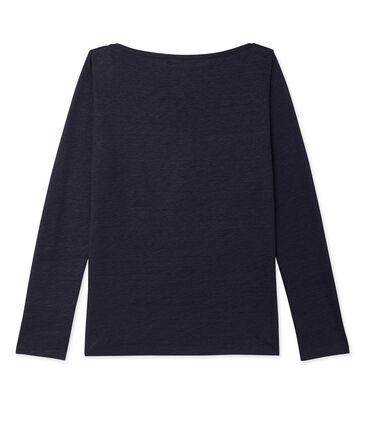 T-shirt femme manches longues en lin laqué