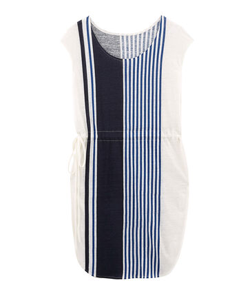 Robe manches courtes femme en lin blanc Marshmallow / blanc Multico