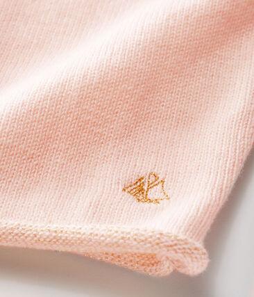 Cardigan essentiel bébé fille en tricot laine et coton rose Fleur
