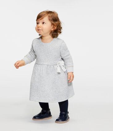 Robe manches longues bébé fille en maille velours gris Beluga / blanc Multico