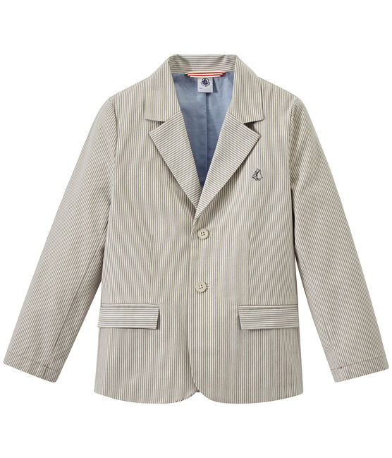 Veste garçon en toile rayée gris Minerai / blanc Lait