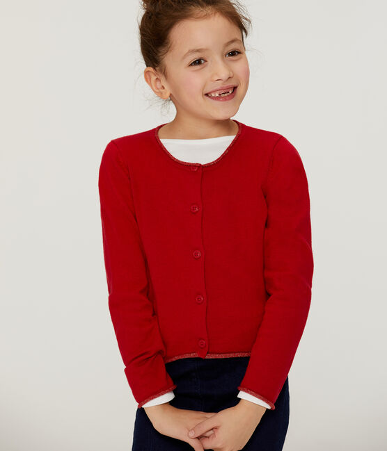 Cardigan tricot enfant fille rouge Terkuit